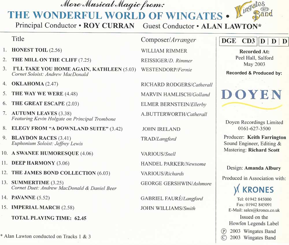 The Wonderful Word of Wingates 2003 Classic CD