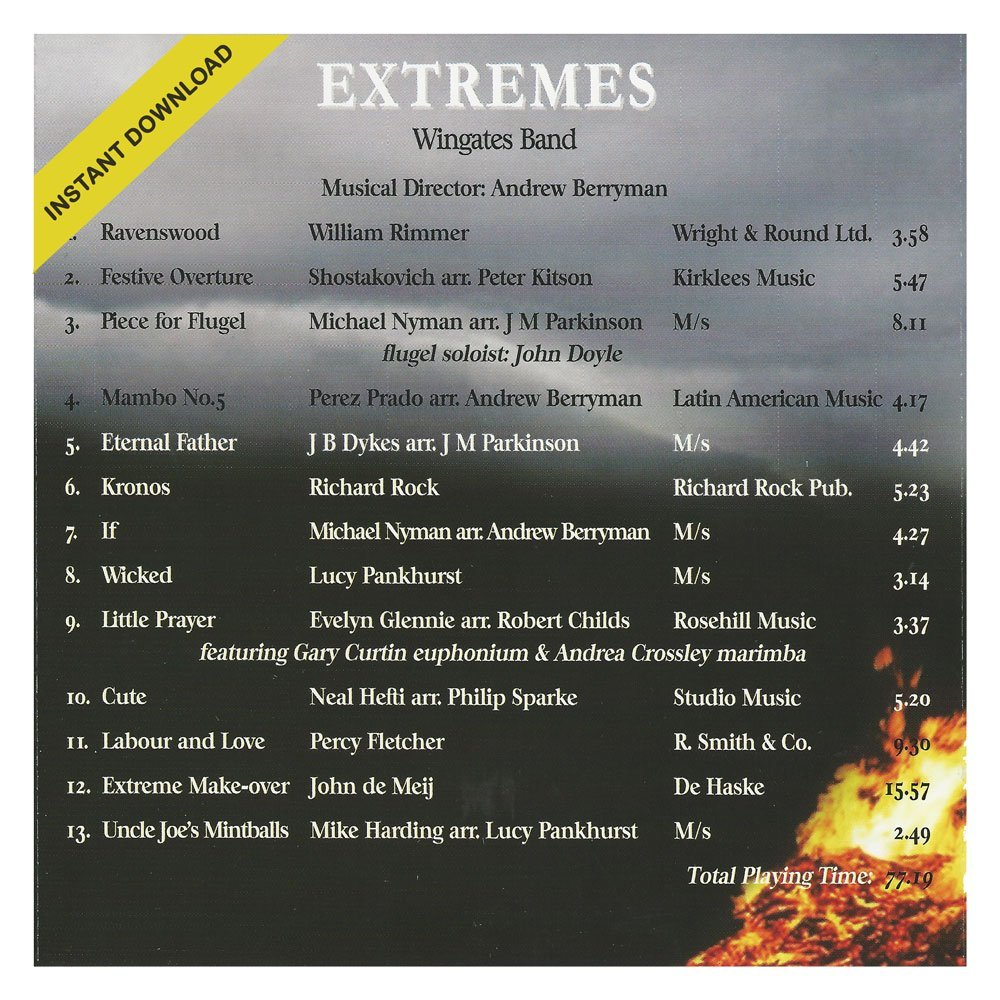 Extremes by Wingates Band CD Back Cover