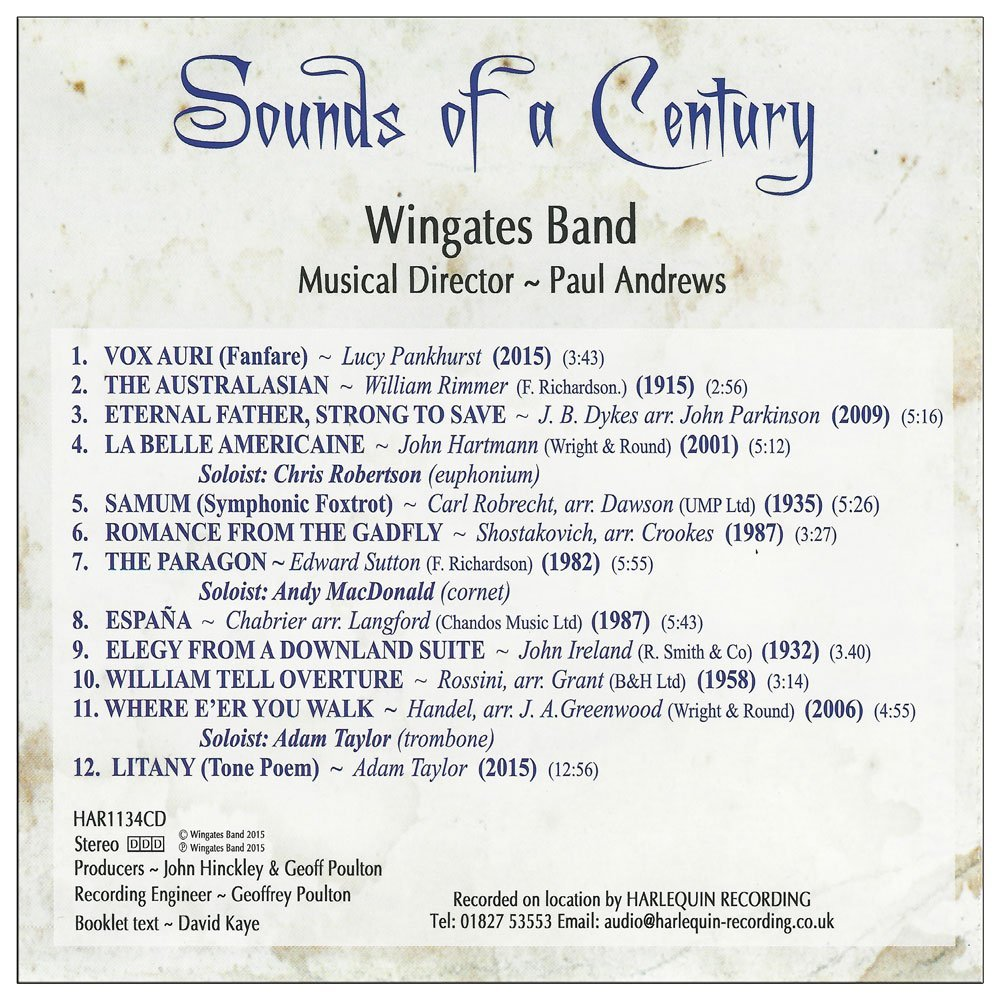 Wingates Band Sounds of a Century CD Cover